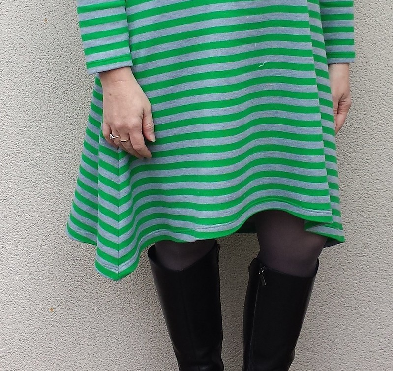 Crafty Mamas Triangle dress in french terry from Clear It.  Cowl from scraps.