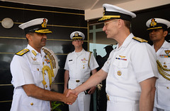 Commander, U.S. 7th Fleet Vice Adm. Joseph Aucoin thanks Indian Flag Officer of Naval Aviation and Flag Officer Goa Area, Rear Adm. Puneet Kumar Bahl, for his hospitality during an office call in Goa. (U.S. Navy/MC2 Indra Bosko)