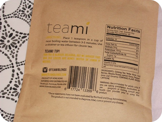 Teami Energy Blend Nutritional Info