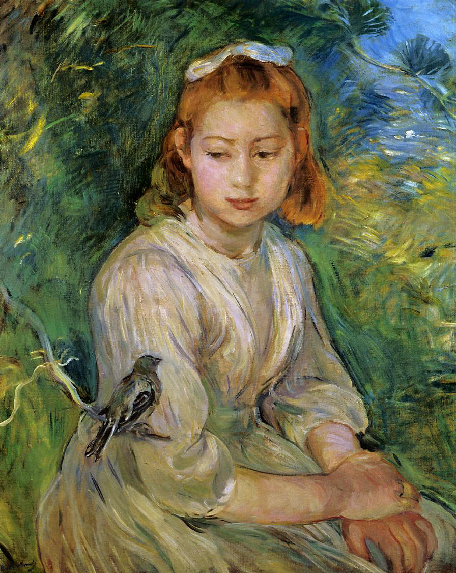 Young Girl with a Bird by Berthe Morisot, 1891