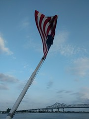 American flag and river
