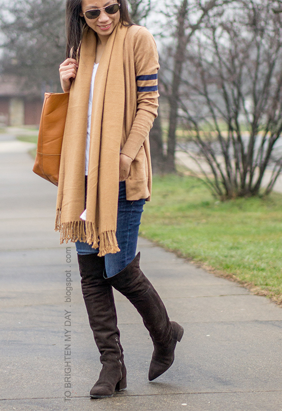 camel scarf, camel varsity cardigan, white tee, jeans, brown suede over the knee boots