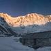 Annapurna I (8,091 m) in the light of the rising Full Moon by Anton Jankovoy (www.jankovoy.com)