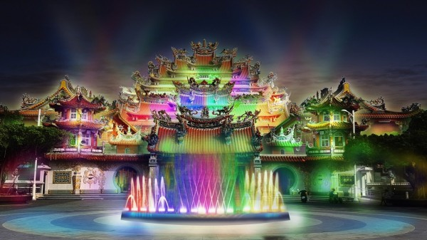 岡山壽天宮光雕搭配水舞模擬圖