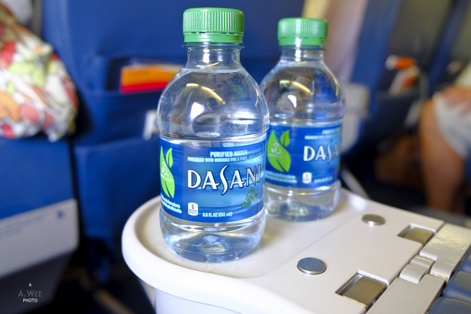 Bottled water on every seat