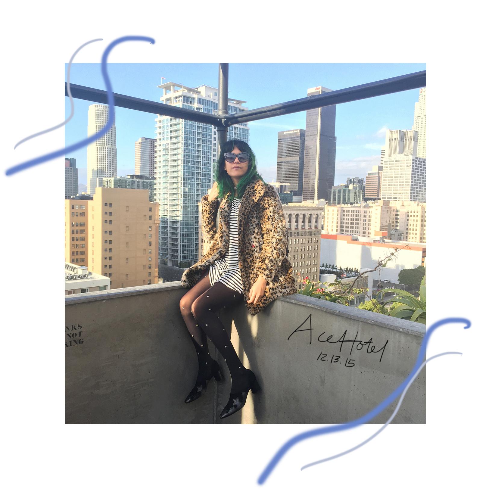 Ace Hotel DTLA Rooftop, leopard coat