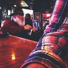 Drunk Santa - behind me at this bar - that hat isn't fooling anybody.