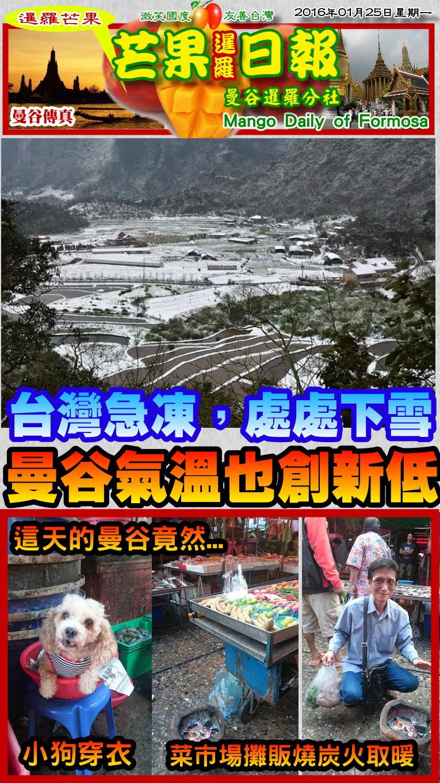 160125芒果日報--國際新聞--台灣急凍處處雪,曼谷氣溫創新低