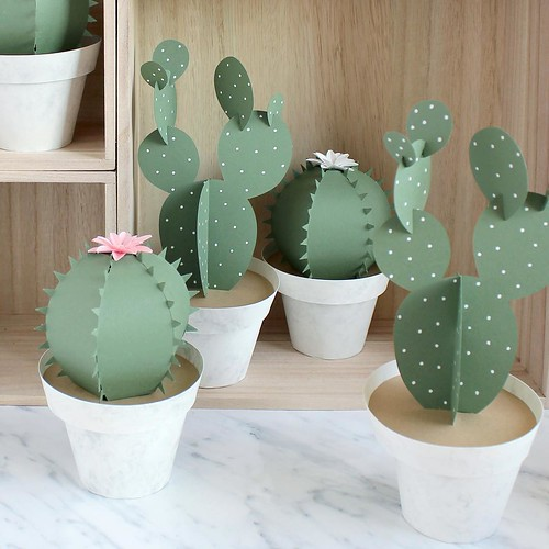 paper cut cacti assortment in paper flower pots