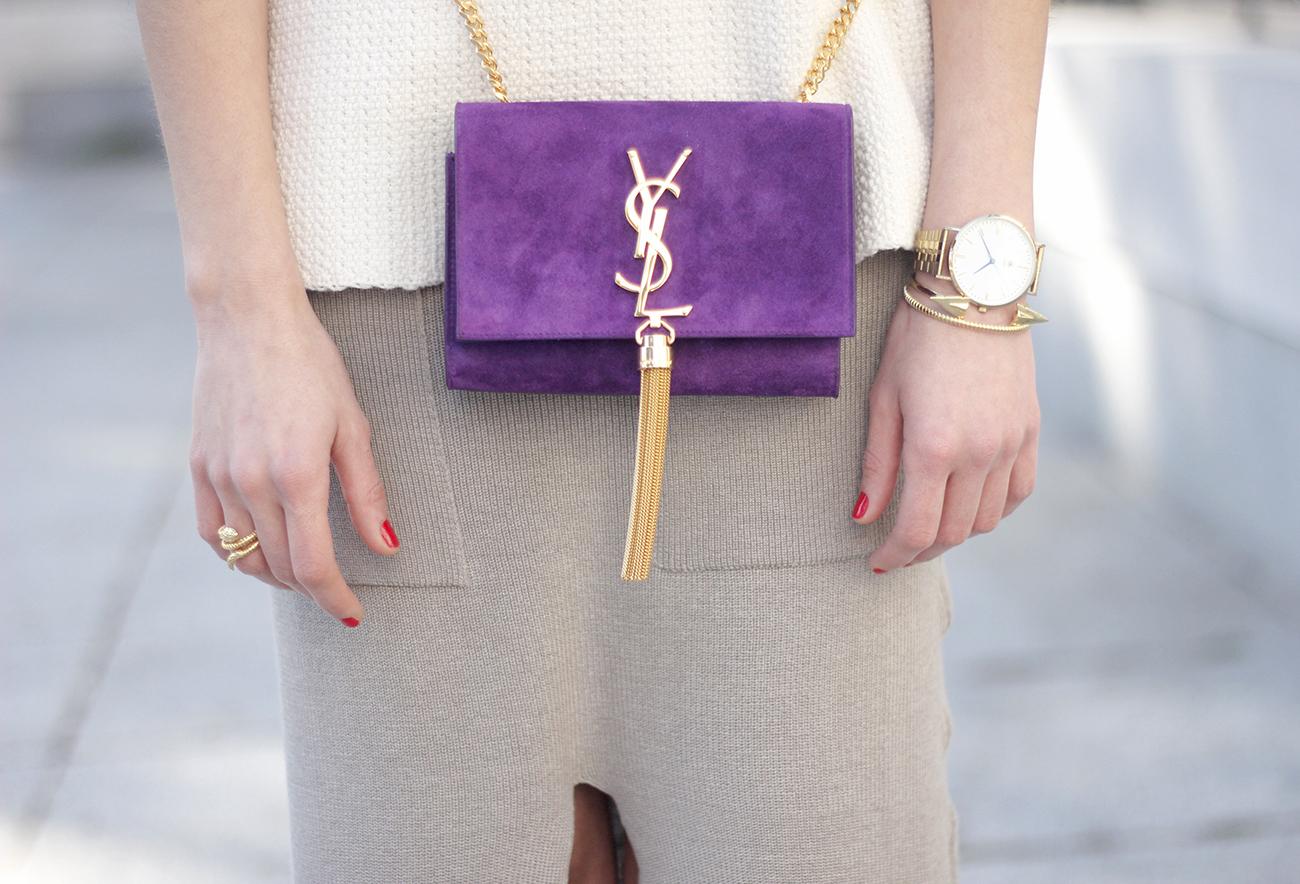 maxi grey knitted skirt saint laurent handbag nude heels outfit02
