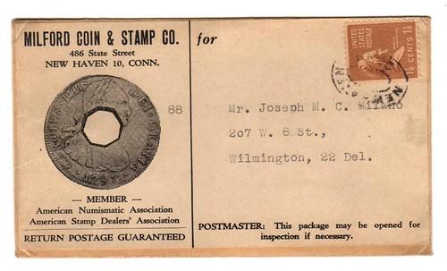 Katen Milford Coin & Stamp envelope