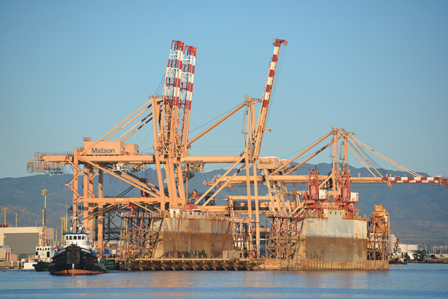 passing by Matson gantry cranes