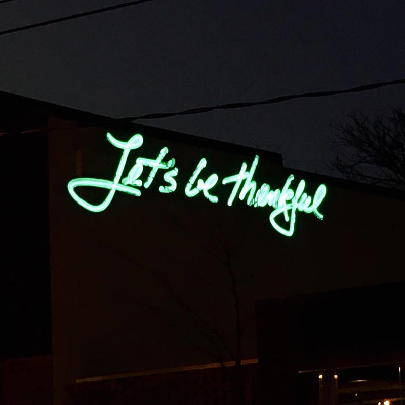 Let's be thankful neon sign