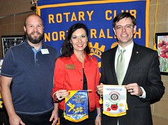 Tiffany Ervin is shown exchanging club banners with club President Chris Morden, On the left side of the photo is Mike Wienold. Mike is the Vice President of the RCNR. Tiffany is recognized for her dedication to community service. She was selected as a breakout presenter at the RI Convention in Sao Paolo this past summer and has been to more than 30 clubs around the US since then.