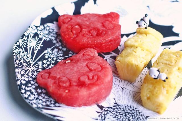 Panda shaped watermelon and panda toothpick on pineapple