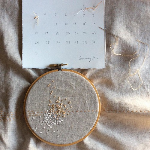 Stitch Journal Day 3: the breeze blew in some French knots