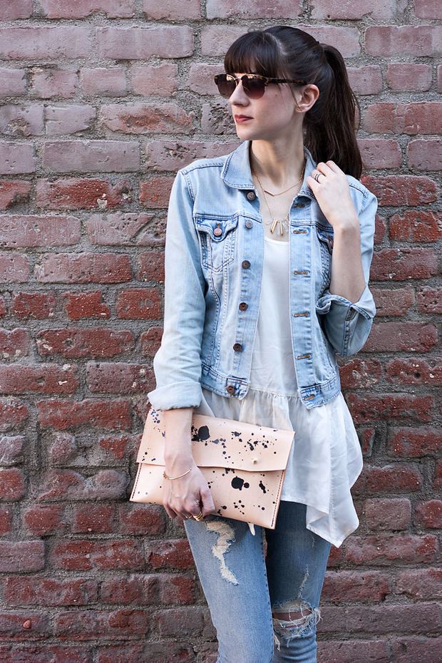 Leather Clutch, W&G clutch, Light Wash Denim Jacket