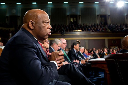 "From the 2013 #SOTU: ""Heroes like @RepJohnLewis, Dr. King, and countless others sacrificed so that all of our voices could be heard."" —President Obama on one of his personal heroes, civil rights leader Rep. John Lewis. Here he is photographed listening to"