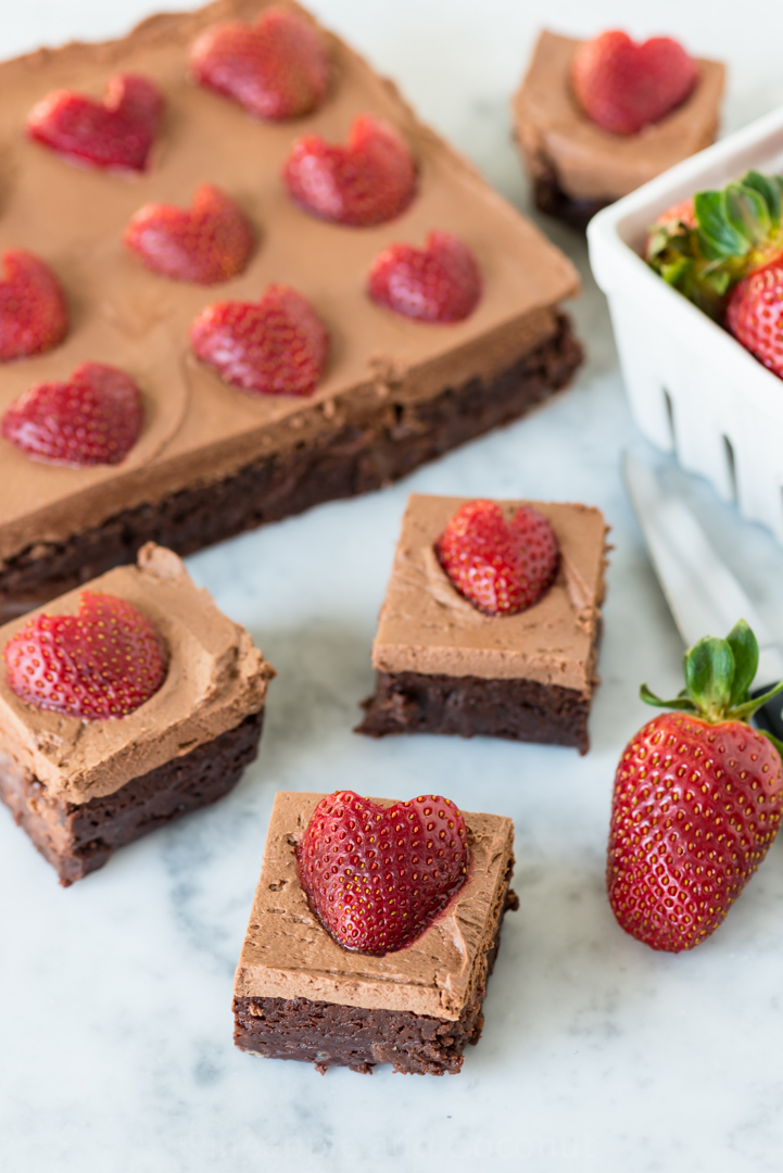 Chocolate Frosted Fudgy Brownies with Strawberries www.pineappleandcoconut.com