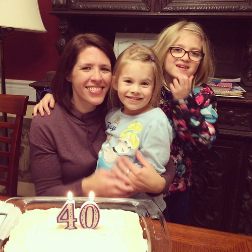 I didn't have the girls this weekend on my actual birthday, so we did cake tonight at my parents' house.