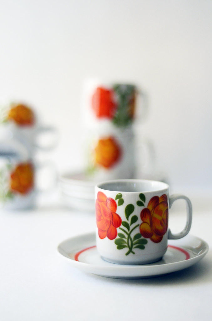 Five Vintage Italian Espresso Cups and Saucers