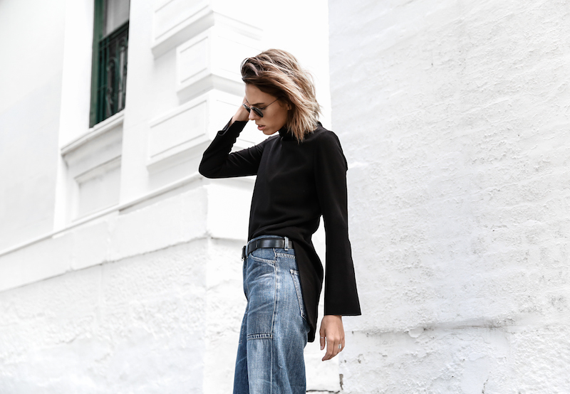 denim wide leg jeans street style Citizens of Humanity Melanie Givenchy Antigona medium street style inspo Stella McCartney loafers minimal Ellery flare sleeve top modern legacy fashion blogger  (4 of 15)