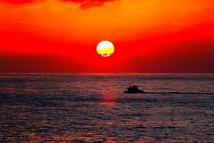boat at sunset - Tel-Aviv beach