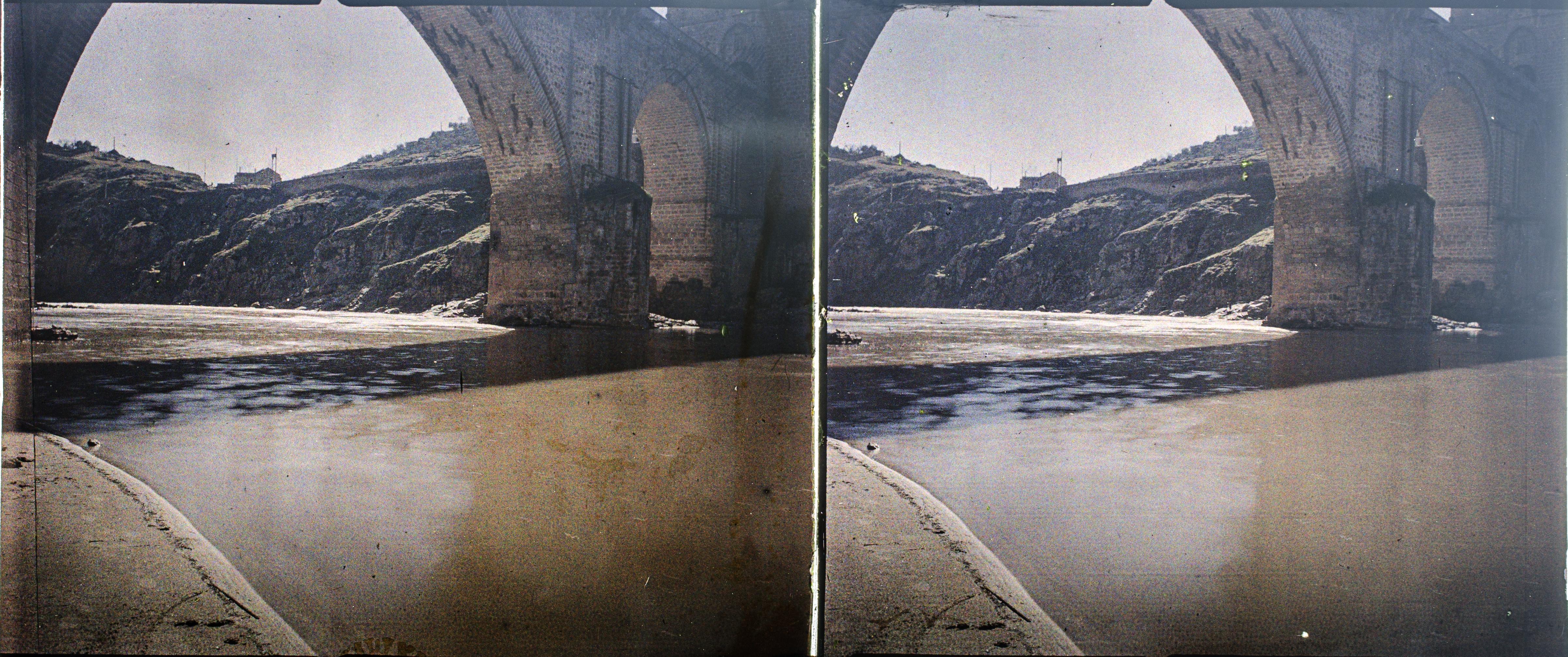 Autocromo del Puente de San Martín hacia 1910. Fotografía de Francisco Rodríguez Avial © Herederos de Francisco Rodríguez Avial
