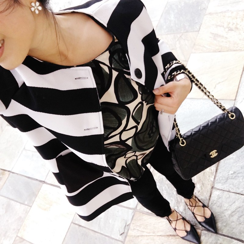 cute & little blog | petite fashion | black white striped coat, leaves print shirt, black skinny jeans, lace-up flats, chanel flap, crystal flower earrings | spring outfit