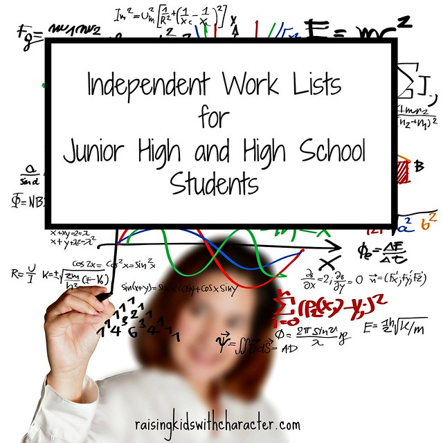 Independent Work Lists for Junior High and High School Students