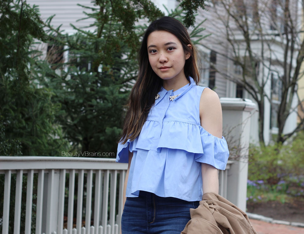 Zara poplin off the shoulder frill blouse