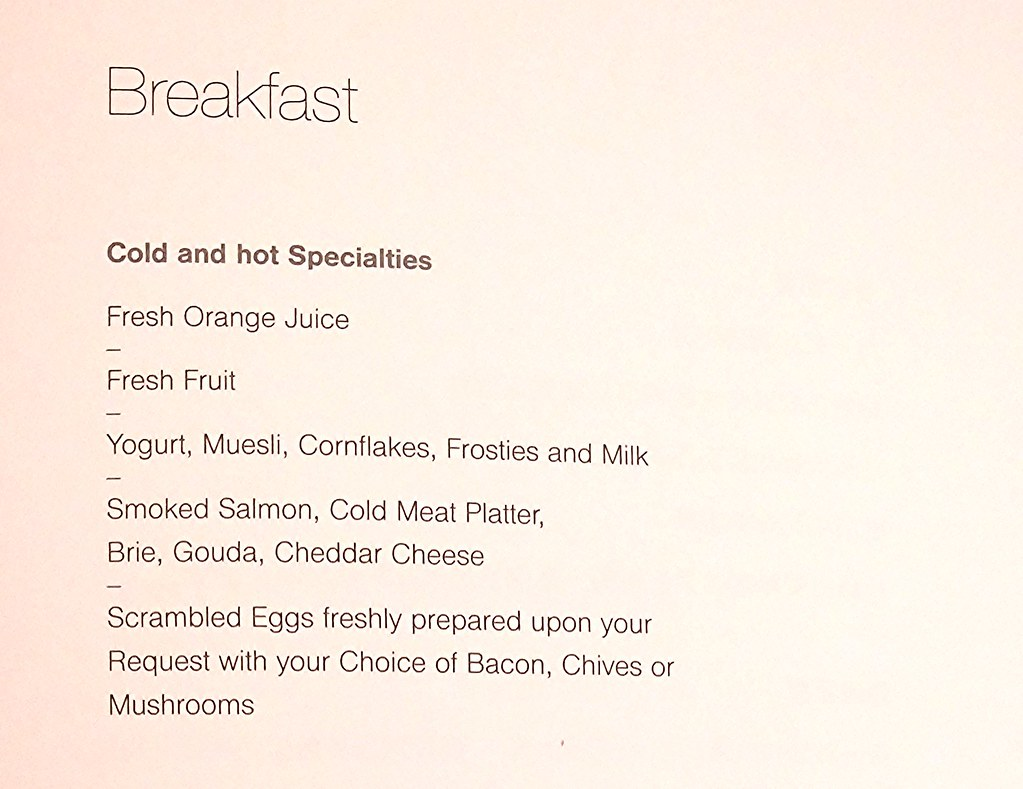 Breakfast menu - English