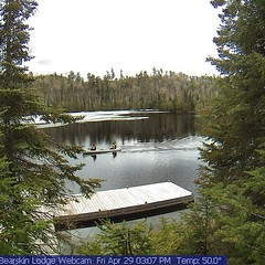 First canoeists of the year on the webcam. Happy Honeymoon Michaela and Mitch. #bearskinlodge #gunflinttrail