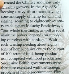 400 acres of hemp to outfit the ropen needs of a warship--- what is the land burden of todays's warfare?