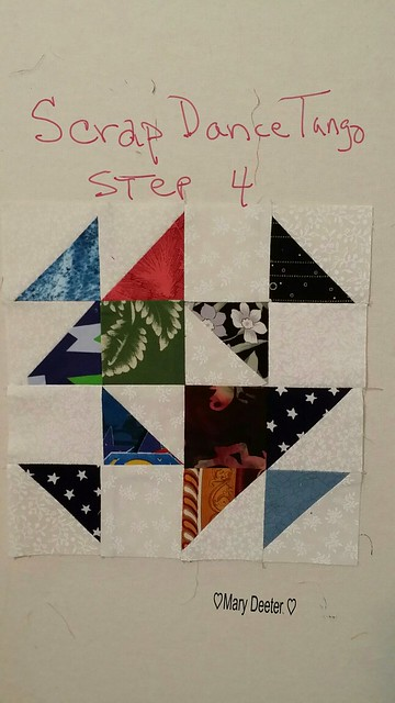 First completed block for step 4 of Scrap Dance Tango Mystery quilt