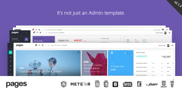 Pages v2.1.3 - Admin Dashboard Template & Web App