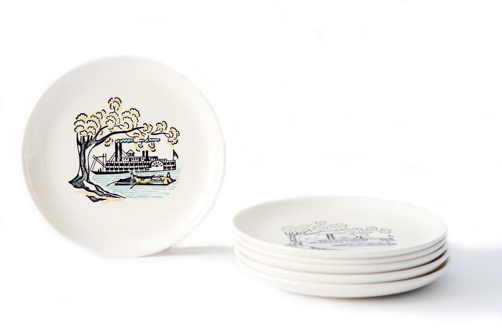 Vintage Paddlewheel Boat Dessert Plates