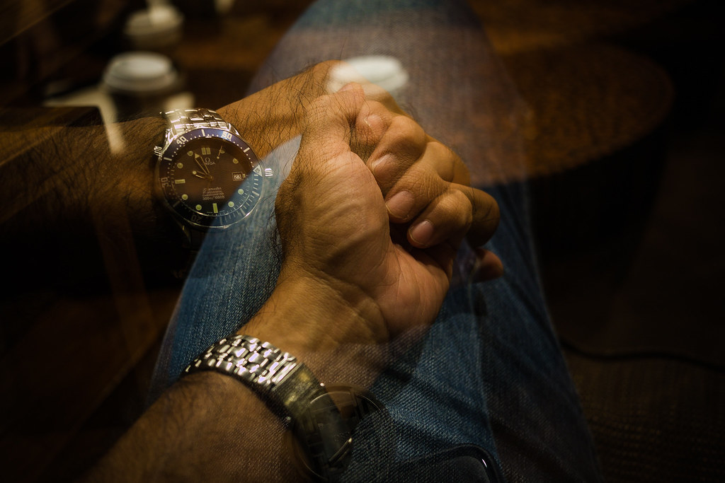 Holding hands in multiple exposure