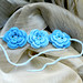 Blue Roses crochet bridal jewelry set collar necklace earrings bracelet ooak eco-friendly pure cotton jewelry