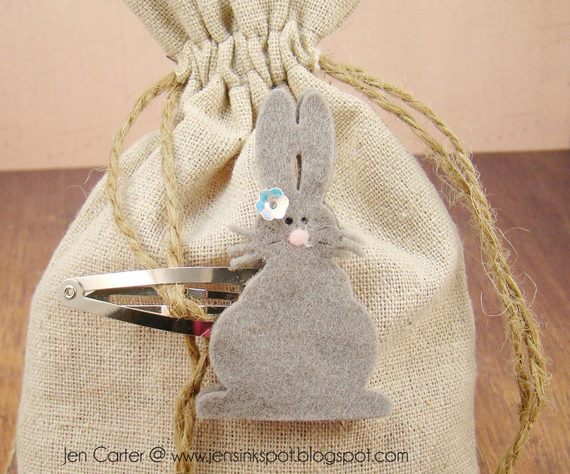 Jen Carter Felt Bunny Hair Barrettes Bunny Back Large Gray