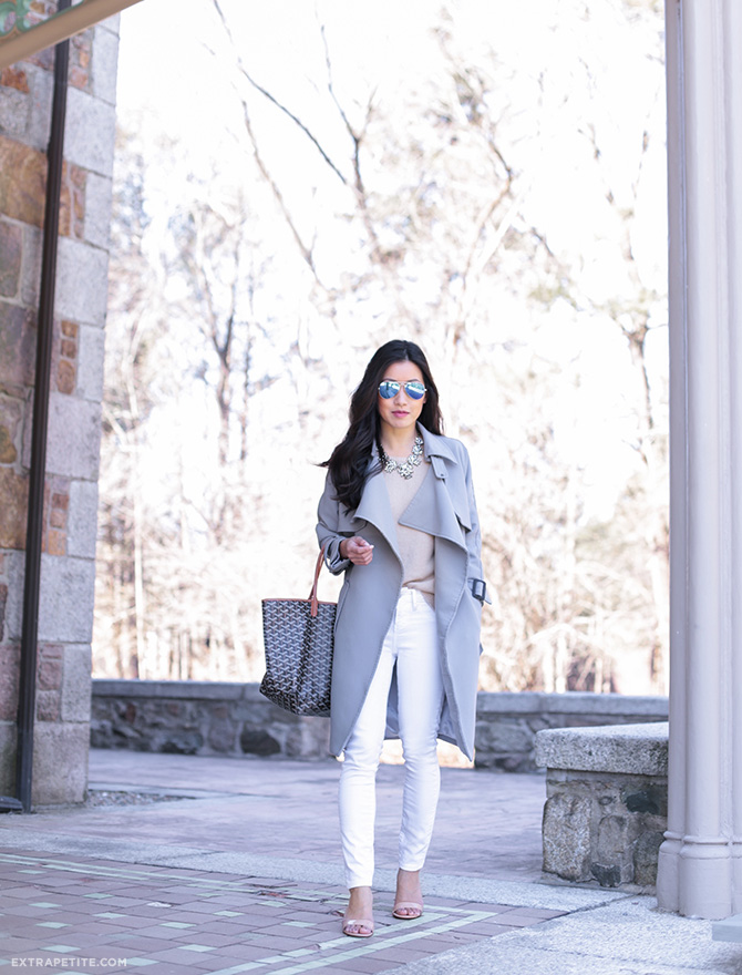 gray trench coat white jeans spring outfit