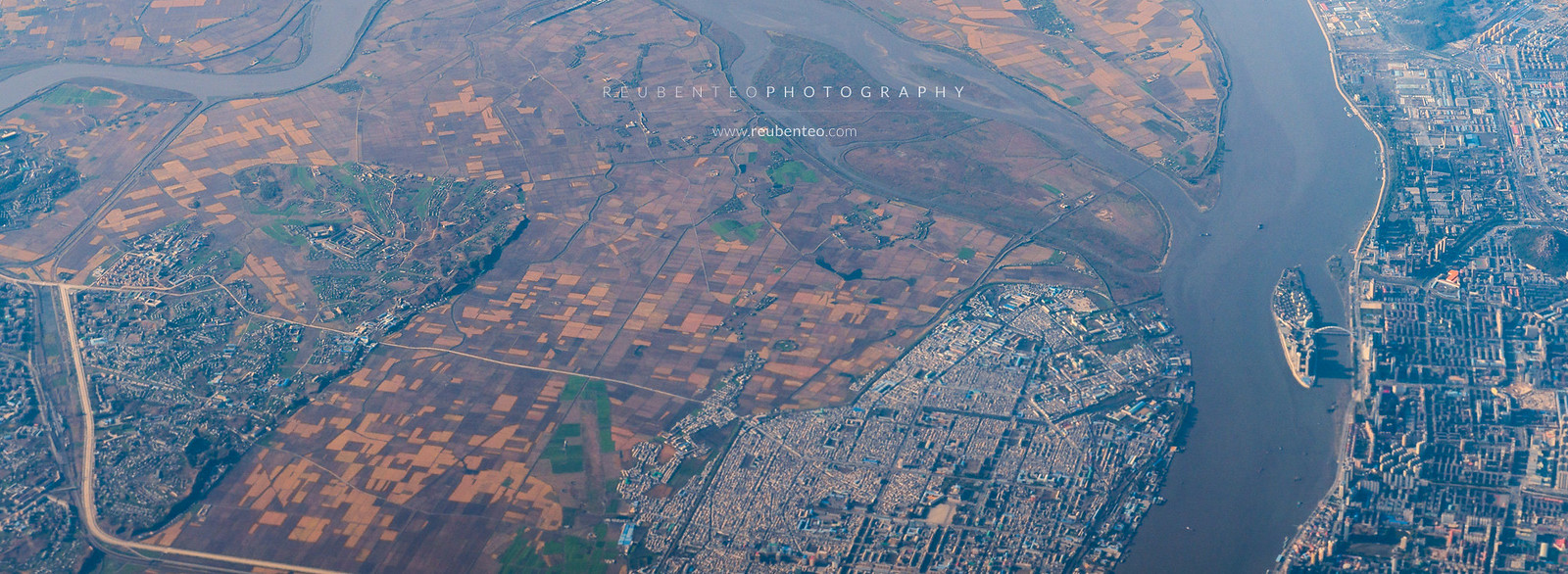 Aerial view of North Korea City and Countryside