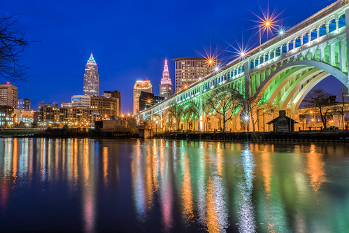cleveland cuyahogariver detroitsuperiorbridge hdr nikon nikond5300 ohio outdoor veterensmemorialbridge bluehour bridge city cityscape downtown evening geotagged lights longexposure outdoors reflection reflections river sky urban winter unitedstates
