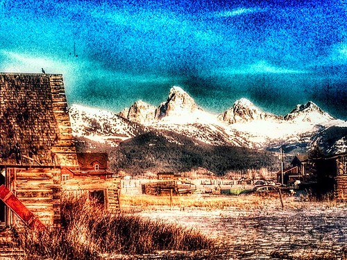 Grand Tetons from a photo I took in 2013 near Driggs, ID #nature #artsy #photoart #grandtetons #mountains