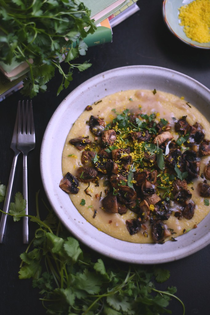 Creamy Polenta + Roasted Mushrooms