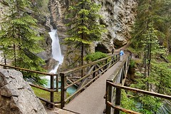 Upper Falls in Johnston Canyon, between Banff and Lake Louise, Alberta, Canada.