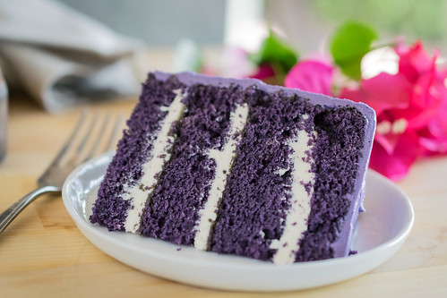 a slice of delicious ube cake