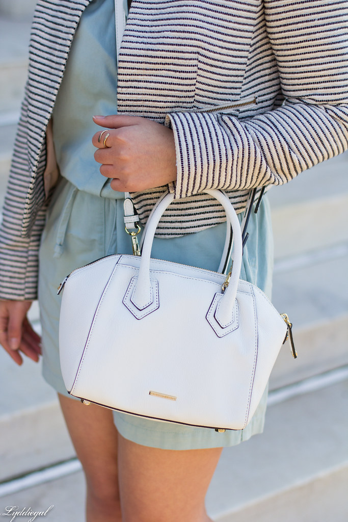 mint romper, striped blazer, lace up flats, white bag-7.jpg