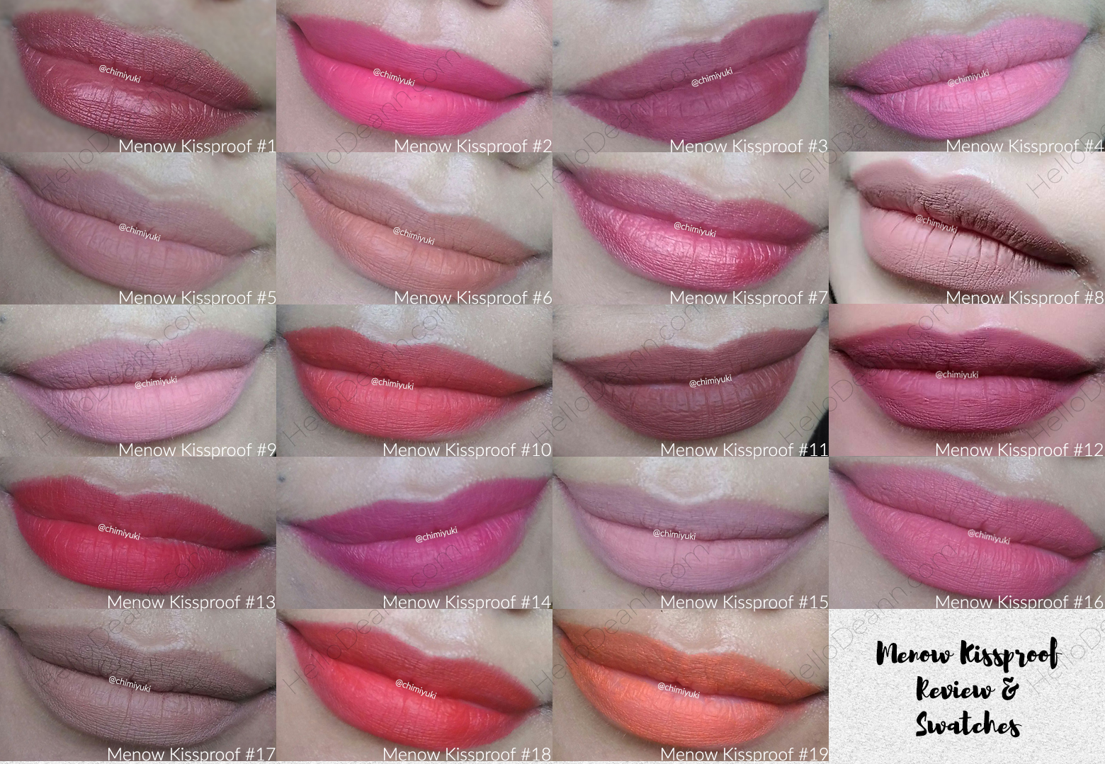 Hello Deann menow kissproof shades, review, swatches closer lips 1-19
