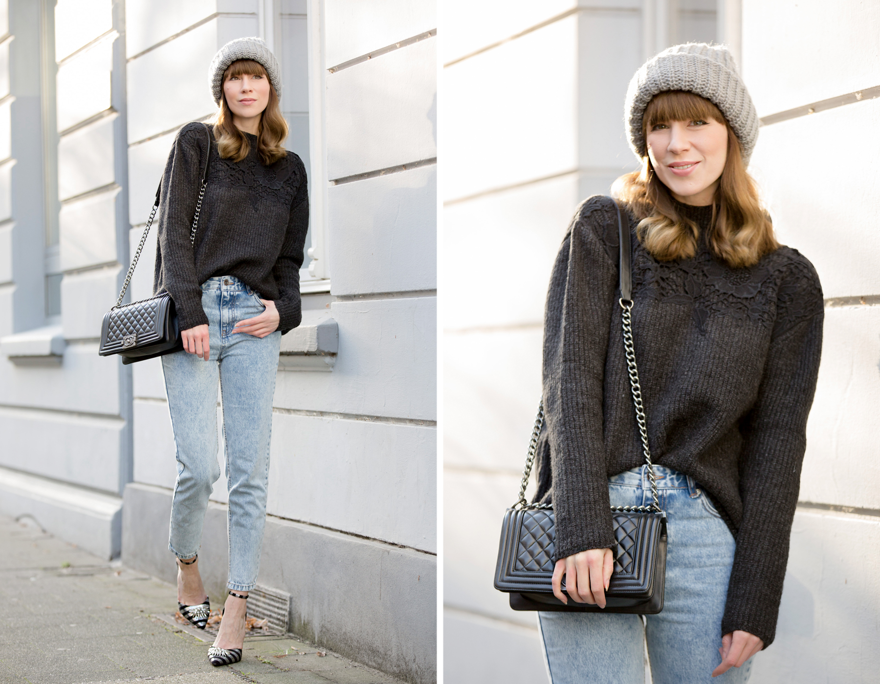 ootd outfit styling mom jeans momjeans pull&bear grey knit knitwear lace chanel chanel boybag leboy asos striped high heels glamour look relax cozy winter düsseldorf cats & dogs blog ricarda schernus fashionblogger 3